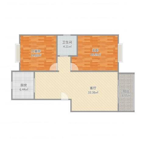 欣连苑2室1厅1卫1厨108.00㎡户型图