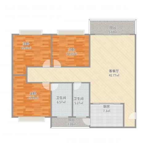 华林花园三期3室1厅2卫1厨145.00㎡户型图