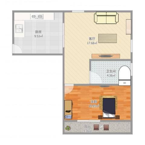 上钢一村1室1厅1卫1厨62.00㎡户型图