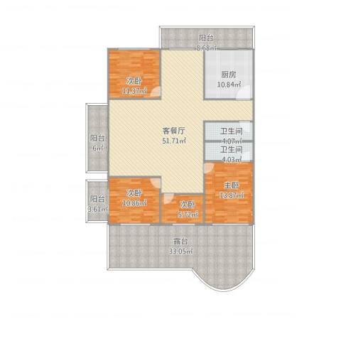 国贸新城4室1厅2卫1厨219.00㎡户型图