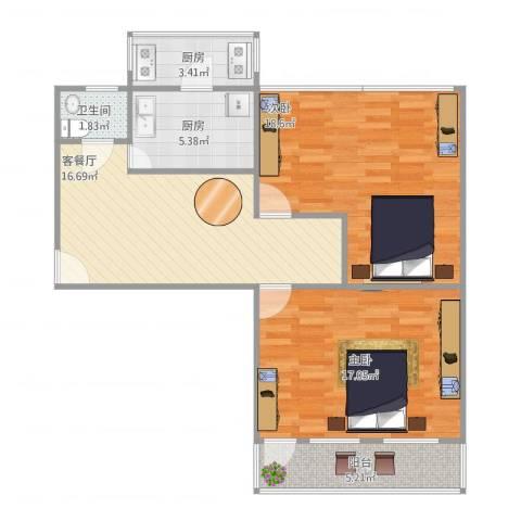 模式口东里2室1厅1卫2厨92.00㎡户型图