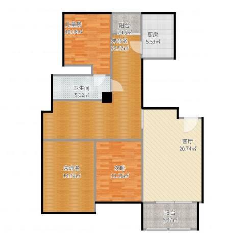 中远欧洲城2室1厅1卫1厨132.00㎡户型图