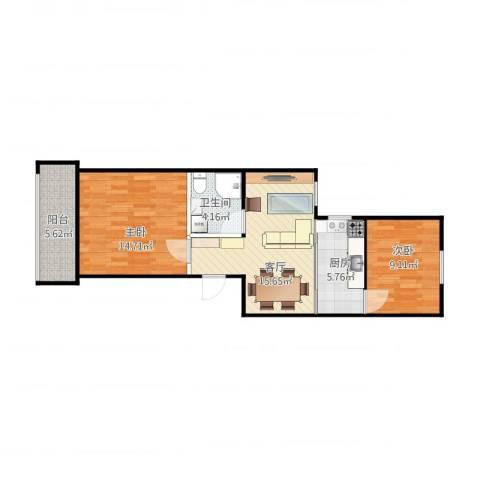滨河西里2室1厅1卫1厨75.00㎡户型图