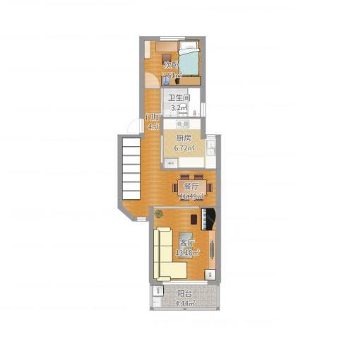 羽山路1000弄小区1室2厅1卫1厨73.00㎡户型图