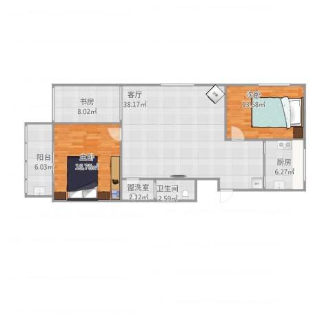 宋园新区3室2厅1卫1厨125.00㎡户型图
