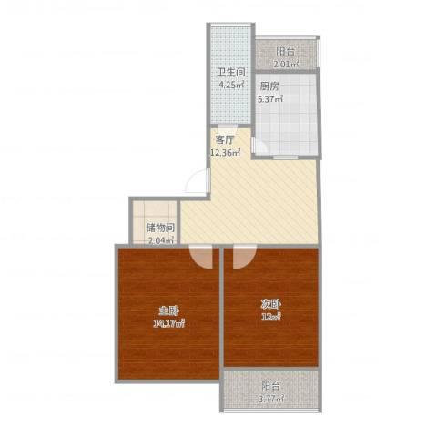 洪苑小区2室1厅1卫1厨76.00㎡户型图