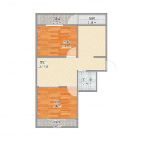 舜清苑2室1厅1卫1厨57.00㎡户型图