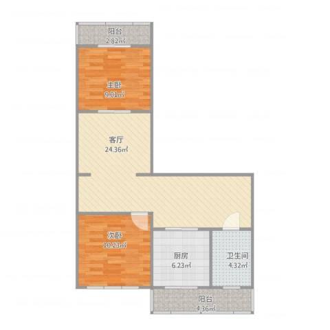 风采里2室1厅1卫1厨84.00㎡户型图