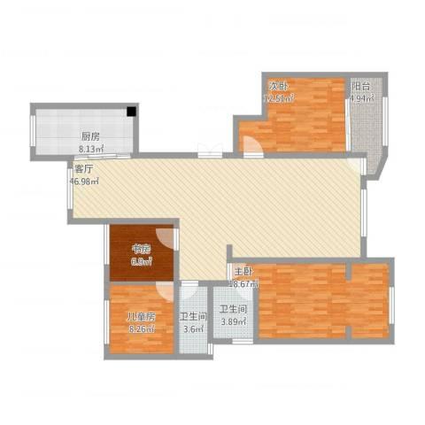 赞成香林4室1厅2卫1厨163.00㎡户型图