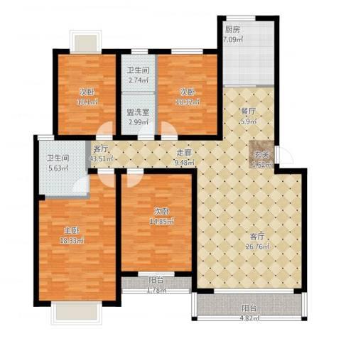 中建绿洲国际花园4室1厅2卫2厨174.00㎡户型图