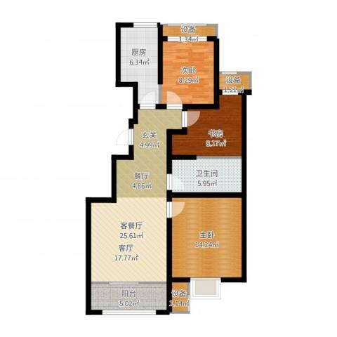 旭辉朗悦湾3室1厅1卫1厨113.00㎡户型图