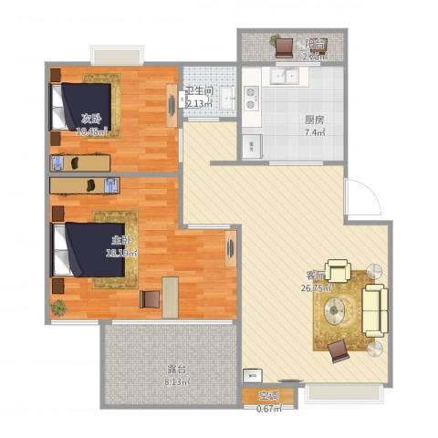 丽泽荷亭苑B2型82.28-82.96平方2室1厅1卫1厨102.00㎡户型图