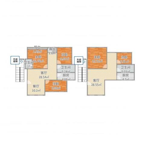 中惠爱丁堡27-11045室2厅3卫2厨184.00㎡户型图