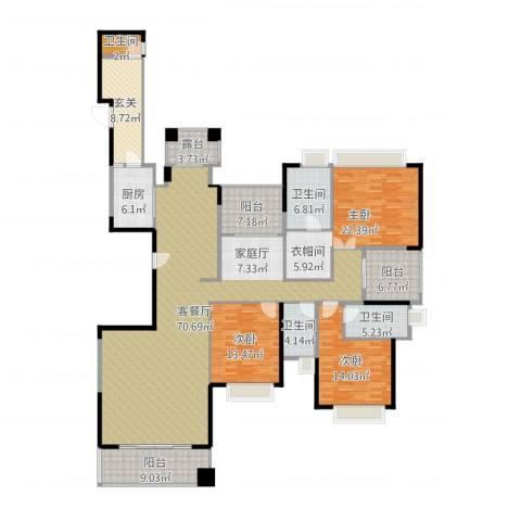 山语清晖花园3室1厅4卫1厨250.00㎡户型图