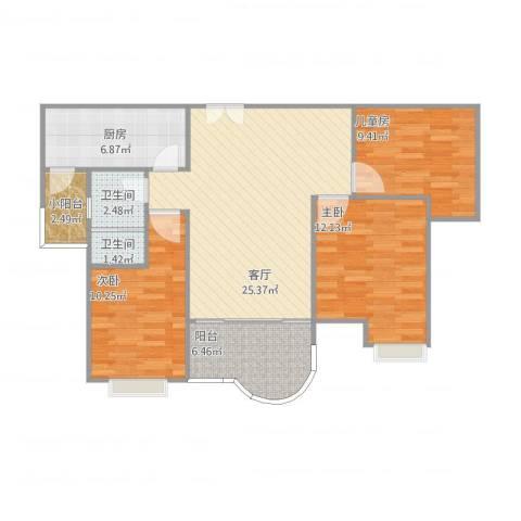 如皋碧桂园3室1厅2卫2厨96.00㎡户型图