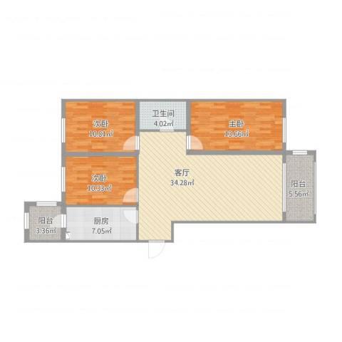 松浦观江国际3室1厅1卫1厨123.00㎡户型图