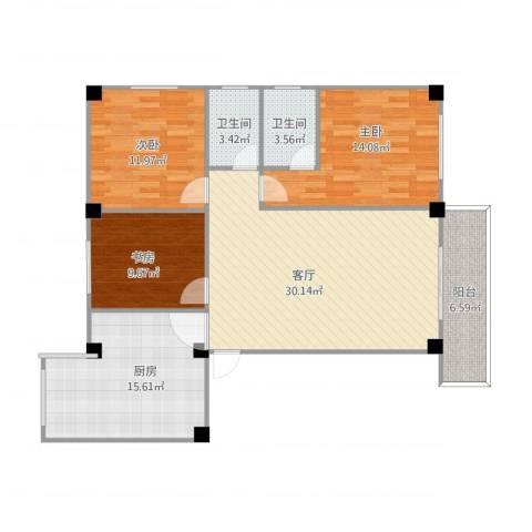 三源弘3室1厅2卫1厨129.00㎡户型图