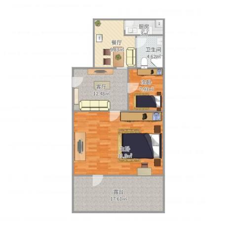 华能城市花园2室2厅1卫1厨117.00㎡户型图