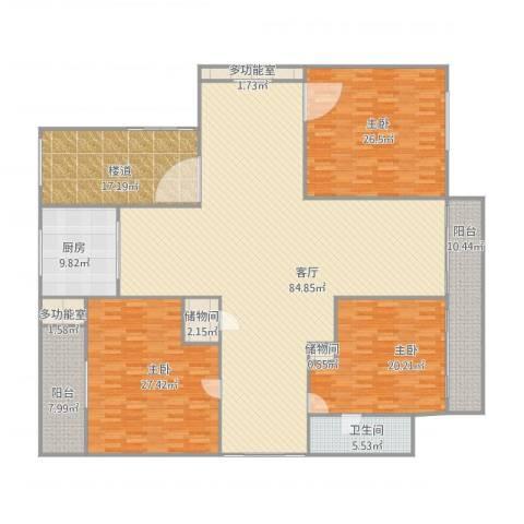 新城碧翠3室1厅1卫1厨286.00㎡户型图