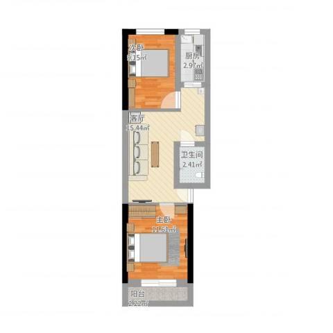 中华小区2室1厅1卫1厨67.00㎡户型图
