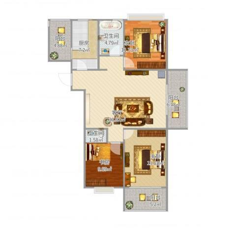 秀水雅苑3室1厅2卫1厨131.00㎡户型图