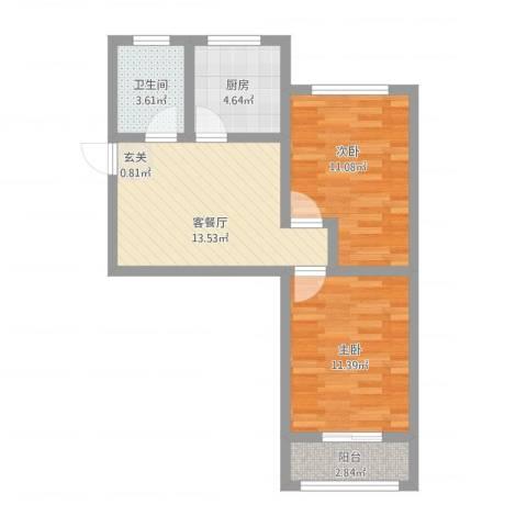 夕照新村2室1厅1卫1厨70.00㎡户型图