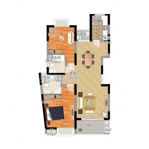 南方城2室1厅2卫1厨122.00㎡户型图