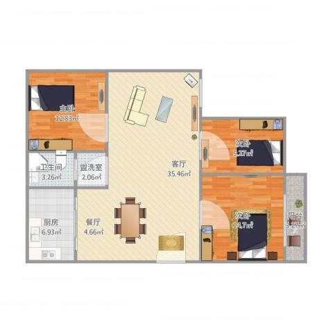 丰乐小区3室2厅1卫1厨100.00㎡户型图