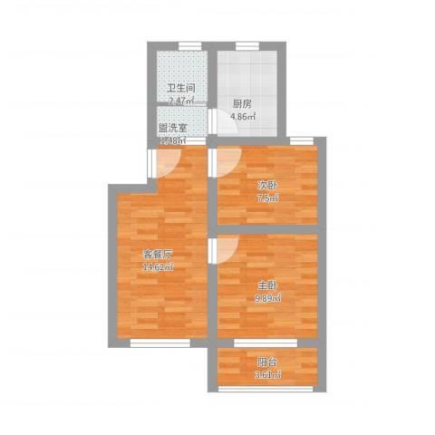 控江一村2室2厅1卫1厨67.00㎡户型图