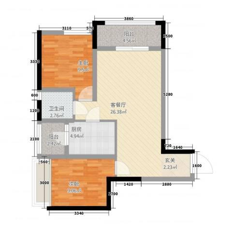 兆甲合阳新城海润国际2室1厅1卫1厨86.00㎡户型图