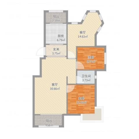 沈阳月星国际城2室2厅1卫1厨125.00㎡户型图