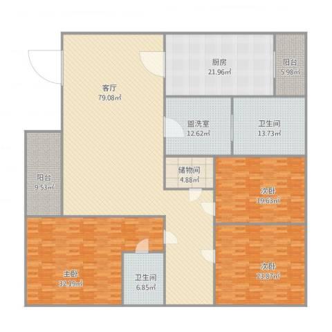 齐鲁骏园3室2厅2卫1厨303.00㎡户型图