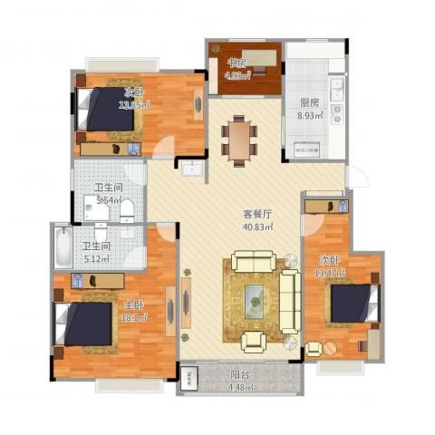 苏宁雅居4室1厅2卫1厨155.00㎡户型图