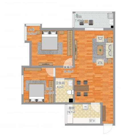 铁路小区2室1厅1卫1厨113.00㎡户型图
