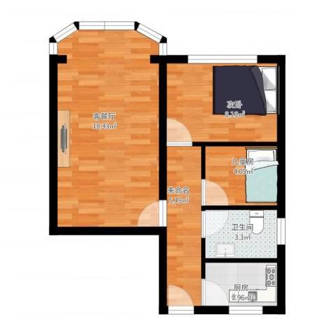 岚皋大楼2室1厅1卫1厨61.00㎡户型图