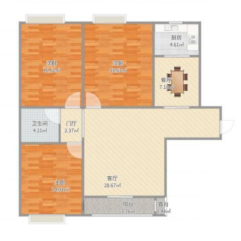 御景豪庭3室2厅1卫1厨135.00㎡户型图