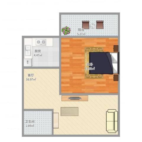 怀庆里1室1厅1卫1厨59.00㎡户型图