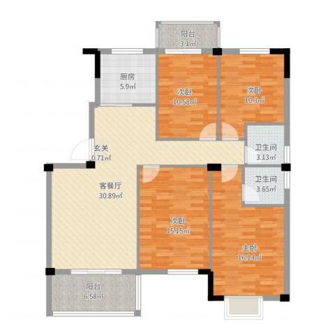 日出东辉4室1厅2卫1厨146.00㎡户型图