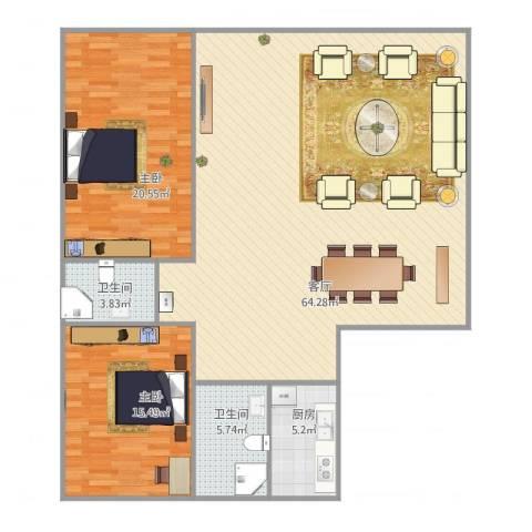 康乐新村2室1厅2卫1厨151.00㎡户型图