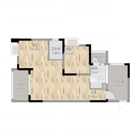 融科海阔天空二期1室2厅2卫1厨115.00㎡户型图