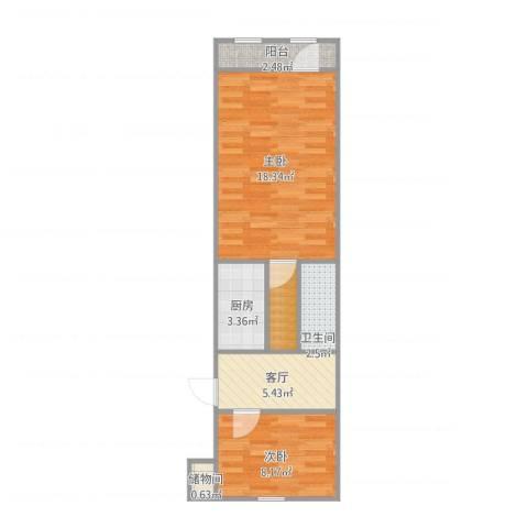 花园闸北里小区2室1厅1卫1厨59.00㎡户型图