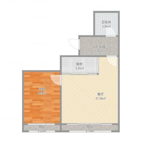 左岸经典1室1厅1卫1厨56.00㎡户型图