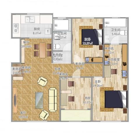 大禹褐石公园2室1厅2卫1厨140.00㎡户型图