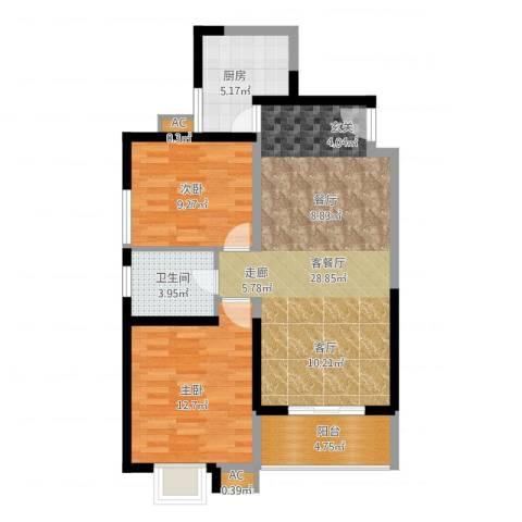 双维花溪湾2室1厅1卫1厨94.00㎡户型图