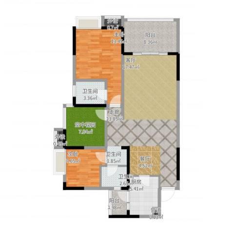 鲁能星城十二街区2室1厅2卫1厨126.00㎡户型图