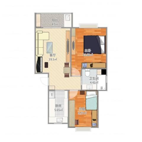好日子大家园C区2室1厅1卫1厨76.00㎡户型图