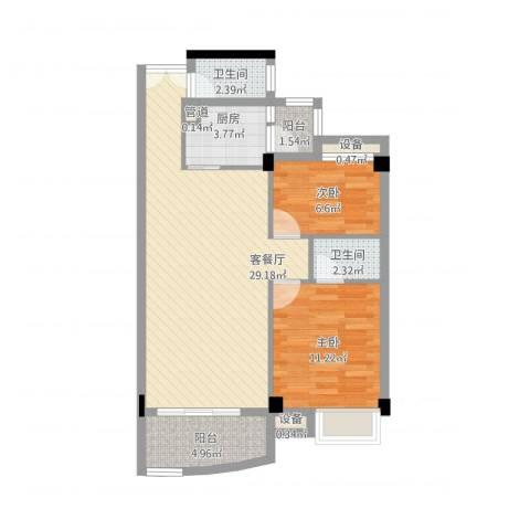 汇银城市花园2室1厅2卫1厨91.00㎡户型图