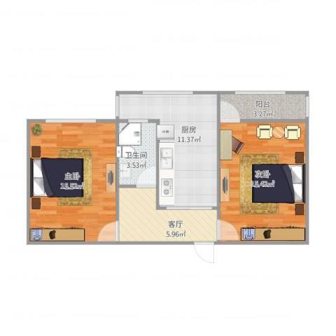 闵子骞路单位宿舍2室1厅1卫1厨75.00㎡户型图