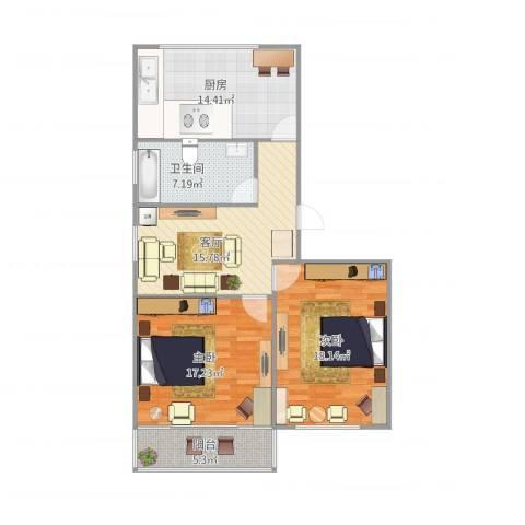 莲溪一村2室1厅1卫1厨105.00㎡户型图