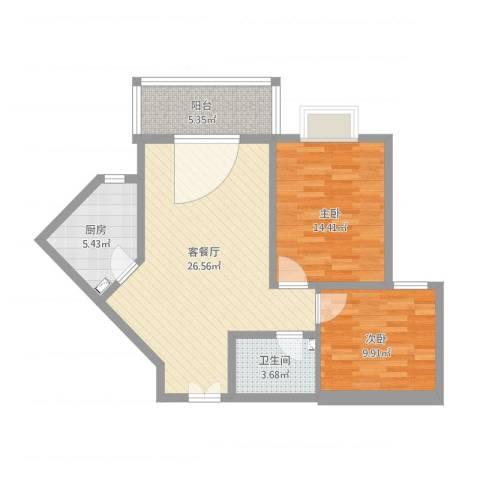 阿房大厦小区2室2厅1卫1厨92.00㎡户型图